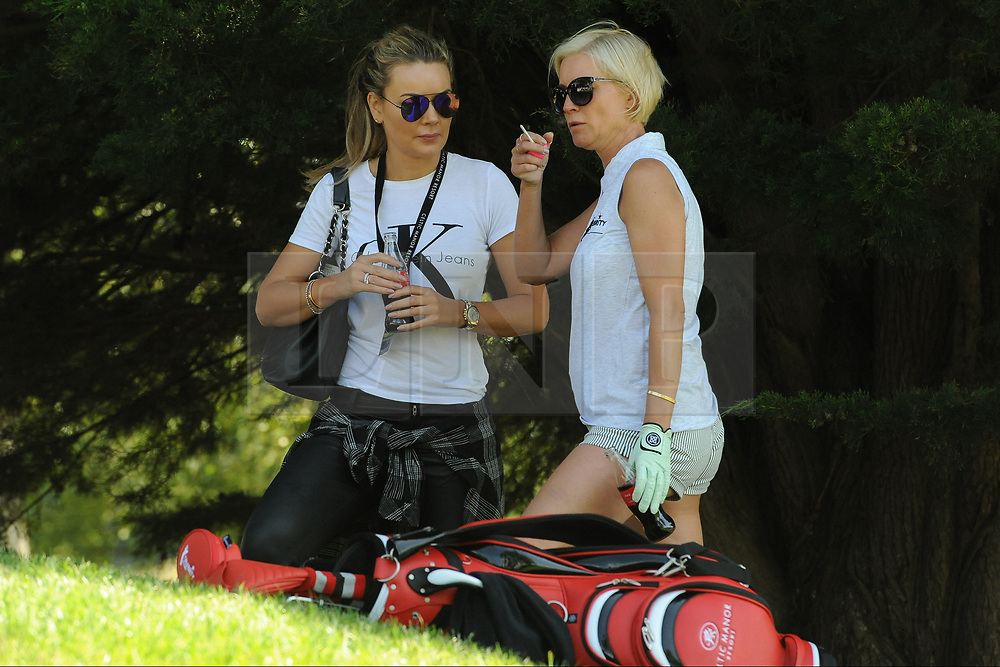 © Licensed to London News Pictures. 01/07/2017. London, UK, Actress and television personality Denise Van Outen takes a moment to chat with a friend during The 2017 Celebrity Cup golf tournament at the Celtic Manor Resort, Newport, South Wales. Photo credit: Jeff Thomas/LNP