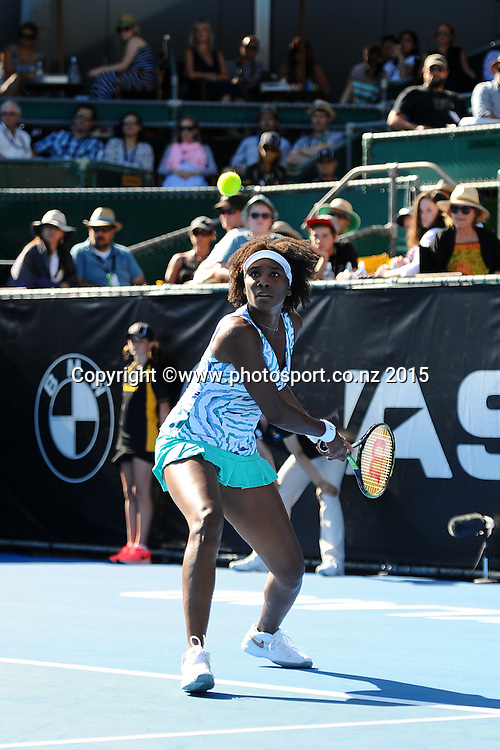 American player Venus Williams during Day 2 of the ASB Classic Women's International. ASB Tennis Centre, Auckland, New Zealand. Tuesday 6 January 2015. Copyright photo: Chris Symes/www.photosport.co.nz