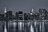 Midtown Manhattan Skyline & East River (monochrome)