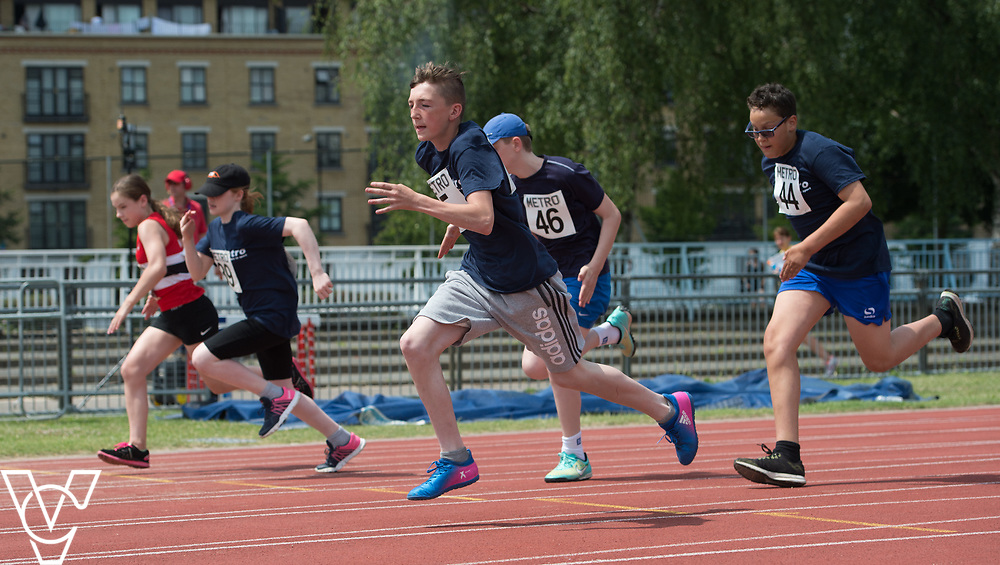 Metro Blind Sport's 2017 Athletics Open held at Mile End Stadium.  100m.  Bradley Stannett<br /> <br /> Picture: Chris Vaughan Photography for Metro Blind Sport<br /> Date: June 17, 2017