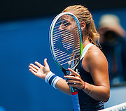 Dominika Cibulkova (SVK) has advanced to her first Australian Open quarterfinal by surprising third seed M Sharapova (RUS) with a 3-6 6-4 6-1 win at Rod Laver Arena on Monday.<br /> <br /> In falling to the Slovakian 20th seed, Sharapova became the second high-profile player to exit the women's draw in less than 24 hours, after world No.1 Serena Williams was dumped out by Ana Ivanovic at the same venue yesterday.