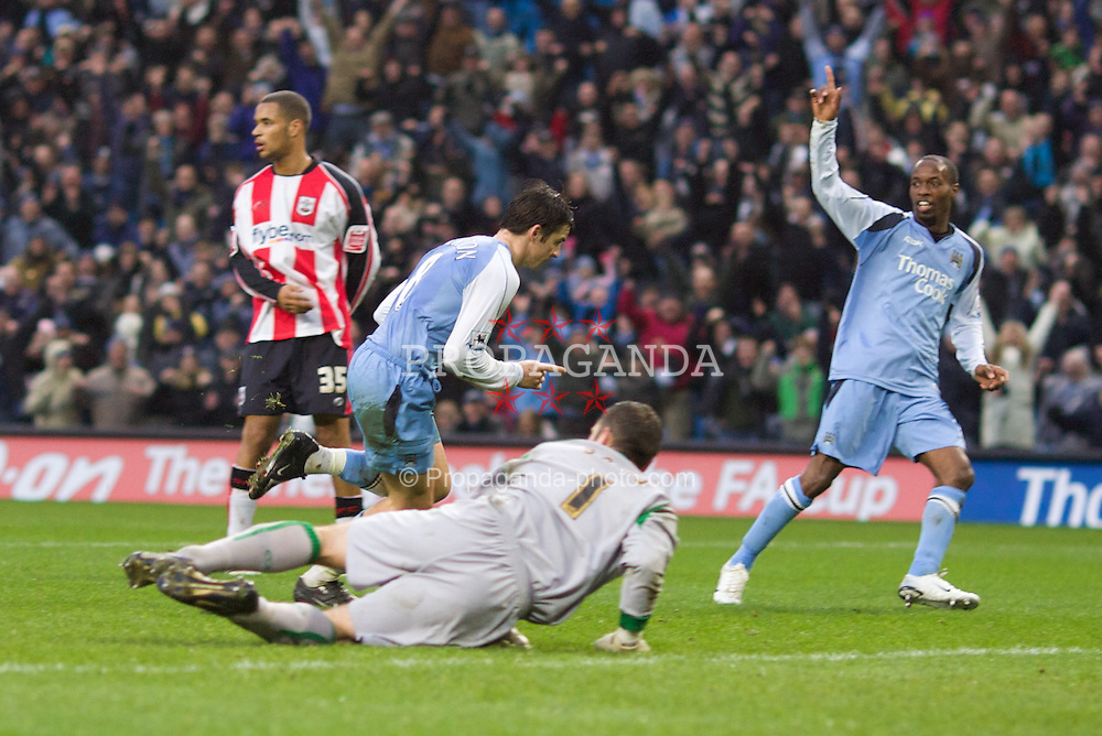 Manchester, England - Sunday, January 28, 2007: Manchester City's Joey Barton celebrates scoring the second goal against Southampton during the FA Cup 5th Round match at the City of Manchester Stadium. (Pic by David Rawcliffe/Propaganda)