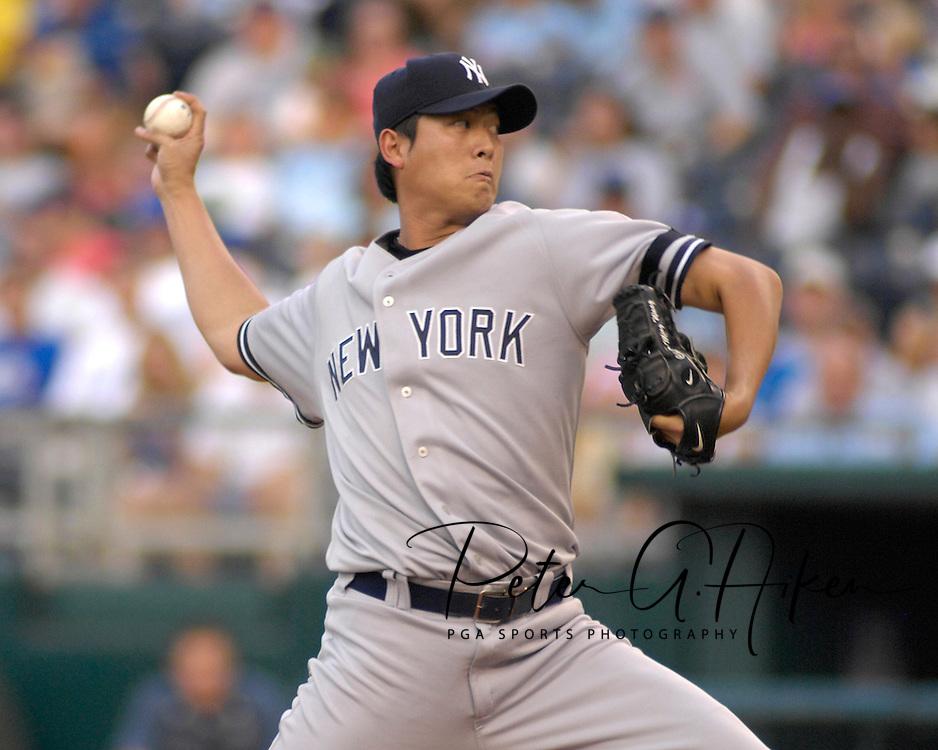 July 24 2007 - Kansas City, MO..New York Yankees pitcher Chien-Ming Wang against the Kansas City Royals at Kauffman Stadium in Kansas City, Missouri on July 24, 2007...MLB:  The Yankees defeated the Royals 9-4.  Photo by Peter G. Aiken / Cal Sport Media