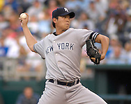 July 24 2007 - Kansas City, MO..New York Yankees pitcher Chien-Ming Wang against the Kansas City Royals at Kauffman Stadium in Kansas City, Missouri on July 24, 2007...MLB:  The Yankees defeated the Royals 9-4.  Photo by Peter G. Aiken / Cal Sport Media