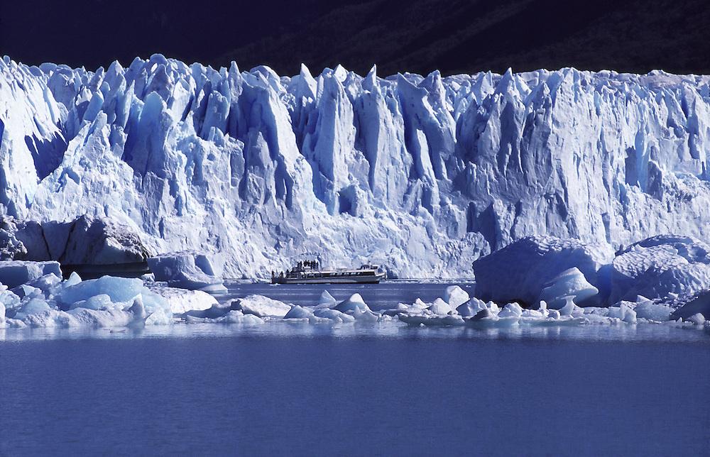 Tourist Boat in front of Moreno Glacier, Argentina, Patagonia