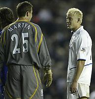 Photo. Aidan Ellis.Digitalsport<br /> Leeds United v Everton.<br /> FA Barclaycard Premiership.<br /> 13/04/2004.<br /> Leeds Alan Smith shares a joke with ex Leeds Keeper Nigel Martyn