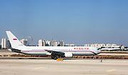 Israel, Ben-Gurion international Airport Rossiya passenger jet Boeing 767 3Q8(ER) ready for takeoff