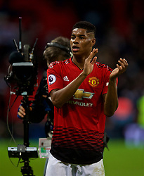 LONDON, ENGLAND - Sunday, January 13, 2019: Manchester United's match-winning goal-scorer Marcus Rashford celebrates after his side's 1-0 victory over Tottenham Hotspur after the FA Premier League match between Tottenham Hotspur FC and Manchester United FC at Wembley Stadium. (Pic by David Rawcliffe/Propaganda)