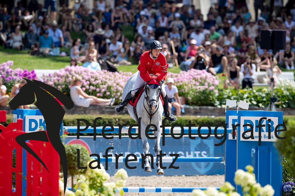 FUCHS Martin (SUI), Clooney<br /> Berlin - Global Jumping Berlin 2018<br /> 2. Wertung für Global Champions League<br /> 28. Juli 2018<br /> © www.sportfotos-lafrentz.de/Stefan Lafrentz