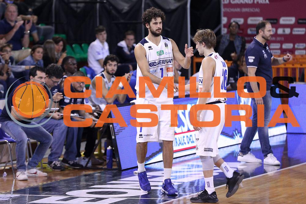 Cambio Traini Andrea per Vitali Luca, Germani Basket Brescia vs Stelmet Zielona Gora, 2 edizione Trofeo Roberto Ferrari, PalaGeorge di Montichiari 22 settembre 2017