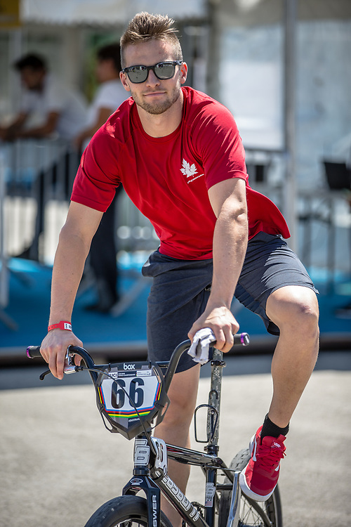 Men Elite #66 (PALMER James) CAN arriving on race day at the 2018 UCI BMX World Championships in Baku, Azerbaijan.