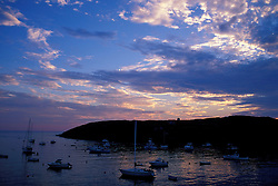 Monhegan Island, ME. Boats. Sunset. Monhegan Harbor.