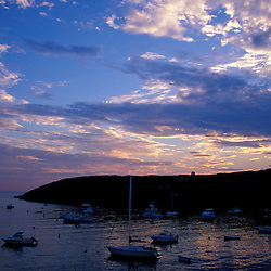 Monhegan Island, ME. Boats. Sunset. Monhegan Harbor.