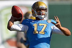 Dec 31, 2011; San Francisco CA, USA; UCLA Bruins quarterback Brett Hundley (17) warms up before the game against the Illinois Fighting Illini at AT&T Park. Illinois defeated UCLA 20-14. Mandatory Credit: Jason O. Watson-US PRESSWIRE
