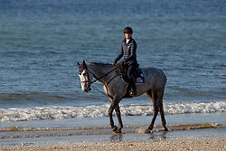 Conter Zoe, BEL, Irenice Horta<br /> Beach training<br /> Longines Jumping International de La Baule 2017<br /> © Dirk Caremans
