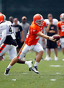 Cleveland Browns quarterback Colt McCoy (12) hands off the ball during NFL football training camp at the Cleveland Browns Training Complex on Monday, August 9, 2010 in Berea, Ohio. (©Paul Anthony Spinelli)