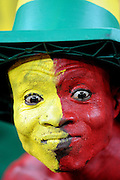 A Ghana fan with a painted face during the 2010 FIFA World Cup South Africa Group D match between Ghana and Germany at Soccer City Stadium on June 23, 2010 in Johannesburg, South Africa.