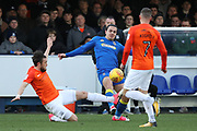 AFC Wimbledon attacker Egli Kaja (21) battles for possession during the EFL Sky Bet League 1 match between AFC Wimbledon and Southend United at the Cherry Red Records Stadium, Kingston, England on 1 January 2018. Photo by Matthew Redman.