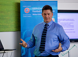 NEWPORT, WALES - Wednesday, April 25, 2018: Welsh Football Trust CEO Neil Ward gives a presentation during a UEFA Certificate in Football Management - Wales Edition at Dragon Park. (Pic by David Rawcliffe/Propaganda)