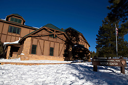 Visitor Center with snow during winter, Bryce Canyon National Park, Utah, United States of America