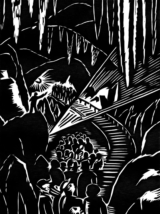 A black / white drawing of a trip to the caves