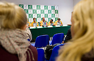 (L-R) Rik de Voest & John Laffnie de Jager & Raven Klaasen & Ruan Roelofse all from South Africa while press conference three days before the BNP Paribas Davis Cup 2013 between Poland and South Africa at MOSiR Hall in Zielona Gora on April 02, 2013...Poland, Zielona Gora, April 02, 2013..Picture also available in RAW (NEF) or TIFF format on special request...For editorial use only. Any commercial or promotional use requires permission...Photo by © Adam Nurkiewicz / Mediasport