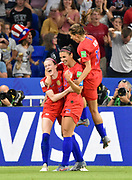 Rose Lavelle of USA, Alex Morgan of USA and Tobin Heath of USA celebrate the goal during the FIFA Women's World Cup France 2019, semi-final football match between England and USA on July 2, 2019 at Stade de Lyon in Lyon, France - Photo Melanie Laurent / A2M Sport Consulting / ProSportsImages / DPPI