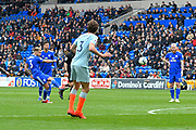 Joe Bennett (3) of Cardiff City shoots at goal from a free kick which is saved during the Premier League match between Cardiff City and Chelsea at the Cardiff City Stadium, Cardiff, Wales on 31 March 2019.
