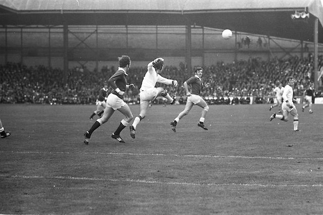 Cork kicks the ball up field during the All Ireland Senior Gaelic Football Championship Final Cork v Galway in Croke Park on the 23rd September 1973. Cork 3-17 Galway 2-13.