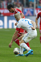29.03.2014, Allianz Arena, Muenchen, GER, 1. FBL, FC Bayern Muenchen vs TSG 1899 Hoffenheim, 28. Runde, im Bild l-r: im Zweikampf, Aktion, mit Claudio Pizzarro #14 (FC Bayern Muenchen) und Andreas Beck #2 (TSG 1899 Hoffenheim) // during the German Bundesliga 28th round match between FC Bayern Munich and TSG 1899 Hoffenheim at the Allianz Arena in Muenchen, Germany on 2014/03/29. EXPA Pictures © 2014, PhotoCredit: EXPA/ Eibner-Pressefoto/ Kolbert<br /> <br /> *****ATTENTION - OUT of GER*****
