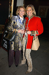 Left to right, LUCY HELLICKER and SUSIE BUCHANAN at the opening of Jack O'Shea's butcher, Montpelier Street, London on 9th November 2006.  <br />