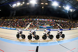 March 1, 2018 - Apeldoorn, Netherlands - Gudrum Stock, Lisa Brennauer, Charlotte Becker and Franziska Brausse of Germany competes in the Women's Team Pursuit first round during UCI Track Cycling World Championships Apeldoorn 2018  in Apeldoorn, the Netherlands on 1st March 2018. The track cycling worlds take place from 28 February to 04 March. (Credit Image: © Foto Olimpik/NurPhoto via ZUMA Press)