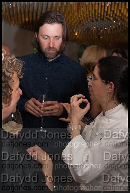 ANTHEA GERRIE; NIKLAS EKSTEDT; ELENA ARZAK, Veuve Clicquot World's Best Female chef champagne tea party. Halkin Hotel. Halkin St. London SW1. 28 April 2014.
