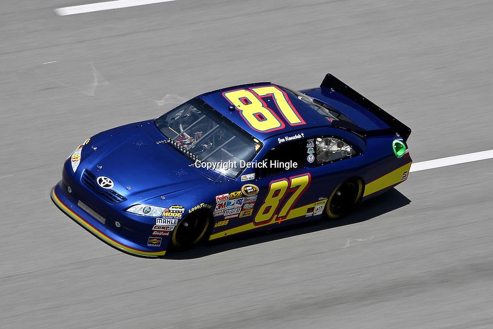 April 17, 2011; Talladega, AL, USA; NASCAR Sprint Cup Series driver Joe Nemecheck (87) during the Aarons 499 at Talladega Superspeedway.   Mandatory Credit: Derick E. Hingle
