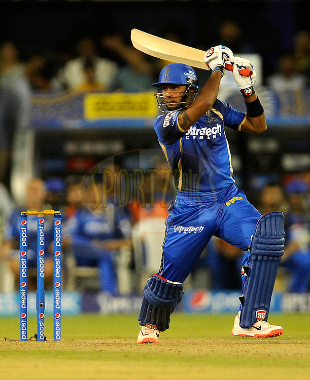 Stuart Binny of Rajasthan Royals bats during match 18 of the Pepsi IPL 2015 (Indian Premier League) between The Rajasthan Royals and The Kings XI Punjab held at the Sardar Patel Stadium in Ahmedabad , India on the 21st April 2015.<br /> <br /> Photo by:  Pal Pillai / SPORTZPICS / IPL