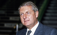 Sir Patrick Mayhew, MP, Conservative Party, UK, Solicitor General for England and Wales, annual conference, October, 1986, 198610007PM<br /> <br /> Copyright Image from Victor Patterson, 54 Dorchester Park, Belfast, UK, BT9 6RJ<br /> <br /> t1: +44 28 9066 1296 (from Rep of Ireland 048 9066 1296)<br /> t2: +44 28 9002 2446 (from Rep of Ireland 048 9002 2446)<br /> m: +44 7802 353836<br /> <br /> victorpatterson@me.com<br /> www.victorpatterson.com<br /> <br /> Please see my Terms and Conditions of Use at victorpatterson.com . It is IMPORTANT that you familiarise yourself with them.<br /> <br /> Images used on the Internet incur an additional cost and must be visibly watermarked i.e. ©Victor Patterson within the body of the image and copyright metadata must not be deleted. Images used on the Internet have a size restriction of 4kbs and are chargeable at rates available at victorpatterson.com.<br /> <br /> This image is only available for the use of the download recipient i.e. television station, newspaper, magazine, book publisher, etc, and must not be passed on to any third party. It is also downloaded on condition that each and every usage is notified within 7 days to victorpatterson@me.com<br /> <br /> The right of Victor Patterson to be identified as the author is asserted in accordance with The Copyright Designs And Patents Act (1988). All moral rights are asserted.