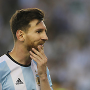 FOXBOROUGH, MASSACHUSETTS - JUNE 18:  Lionel Messi #10 of Argentina feels his beard during the Argentina Vs Venezuela Quarterfinal match of the Copa America Centenario USA 2016 Tournament at Gillette Stadium on June 18, 2016 in Foxborough, Massachusetts. (Photo by Tim Clayton/Corbis via Getty Images)