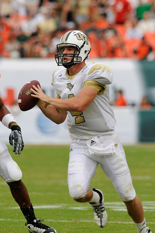 October 11, 2008 - Miami Gardens, FL<br /> <br /> University of Central Florida quarterback Rob Calabrese drops back to pass during the Knights 20-14 defeat to the Miami Hurricanes at Dolphin Stadium in Miami Gardens, Florida.<br /> <br /> JC Ridley/CSM