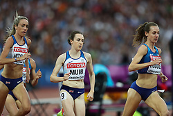 London, August 13 2017 . Molly Huddle, USA, leads Laura Muir, Great Britain, and Eilish McColgan, Great Britain, in the women's 5000m final on day ten of the IAAF London 2017 world Championships at the London Stadium. © Paul Davey.