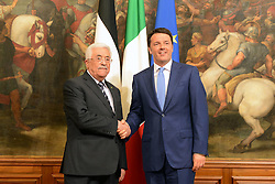 15.05.2015, Rom, ITA, der Palaestinensische Praesident Mahmoud Abbas auf Italien Besuch, im Bild der Pal&auml;stinensische Pr&auml;sident Mahmoud Abbas bei seinem Staatsbesuch in Italien // Palestinian President Mahmoud Abbas meets with Italian Prime Minister Matteo Renzi, at the Chigi Palace in Rome Abbas arrived in Rome for three days of meetings with Italian government institutions and the Vatican, Italy on 2015/05/15. EXPA Pictures &copy; 2015, PhotoCredit: EXPA/ APAimages/ Thaer Ganaim<br /> <br /> *****ATTENTION - for AUT, GER, SUI, ITA, POL, CRO, SRB only*****