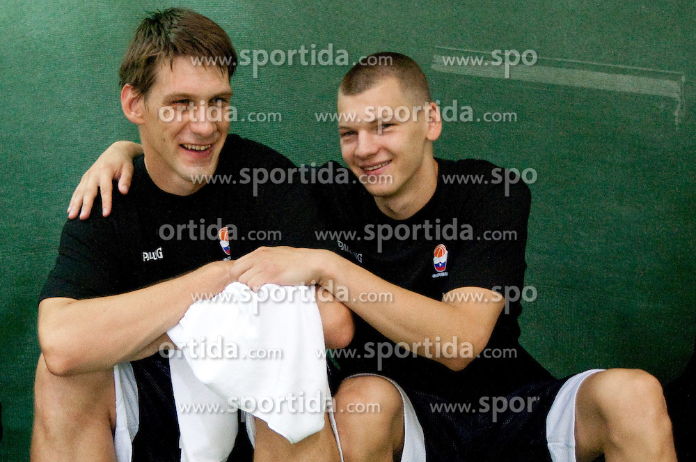 Gasper Vidmar and Jaka Klobucar at practice session of Slovenia basketball team on media day on July 16, 2010 at Rogla sports center, Slovenia. (Photo by Vid Ponikvar / Sportida)