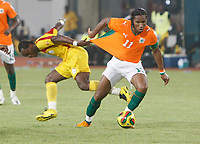 Photo: Steve Bond/Richard Lane Photography.<br />Ivory Coast v Benin. Africa Cup of Nations. 25/01/2008. Didier Drogba (R) has his shirt tugged