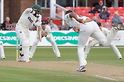 Liam Hurt bowls to Hassan Azad during the Specsavers County Champ Div 2 match between Leicestershire County Cricket Club and Lancashire County Cricket Club at the Fischer County Ground, Grace Road, Leicester, United Kingdom on 26 September 2019.