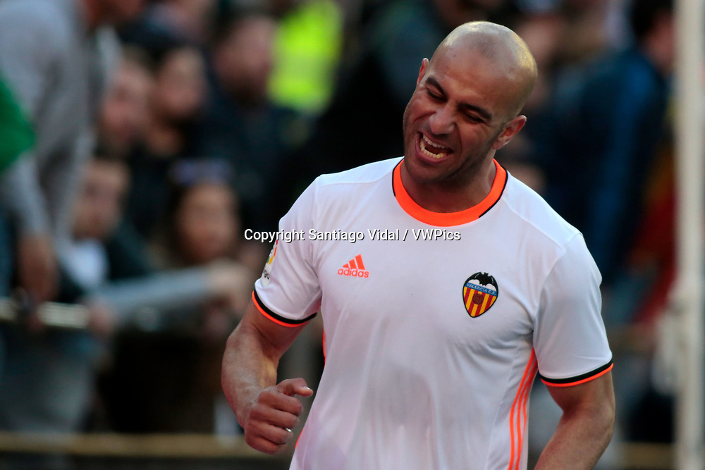 Valencia CF vs Deportivo La Coruña - La Liga MAtchday 29 - Estadio Mestalla, in action during g the game -- Aymen Abdennour, central defender for Valencia CF reacts after his goal is invalidated