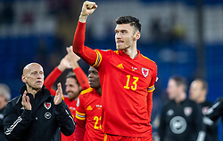 CARDIFF, WALES - Tuesday, November 19, 2019: Wales Kieffer Moore celebrates after the final UEFA Euro 2020 Qualifying Group E match between Wales and Hungary at the Cardiff City Stadium where Wales won 2-0 and qualified for Euro 2020. (Pic by Laura Malkin/Propaganda)
