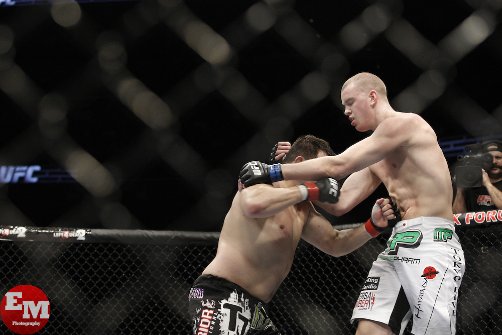Dec 12, 2009; Memphis, TN, USA; Heavyweights Stefan Struve and Paul Buentello during their bout at UFC 107 at the FedEx Forum in Memphis, TN.  Struve won via majority decision.