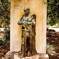 Malvina Hoffman, an artist who studied under Rodin, crafted this bigger than life sculpture of a knight in armor to stand watch over the grave of Sen. LeRoy Percy in the Greenville Cemetery on Main Street.<br />