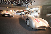 Mercedes' racer row at the Mercedes Museum in Stuttgart, Germany.