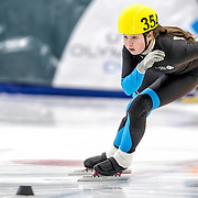December 17, 2016 - Kearns, UT - Tessa Lessner skates during US Speedskating Short Track Junior Nationals and Winter Challenge Short Track Speed Skating competition at the Utah Olympic Oval.