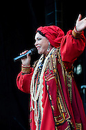 Russian singer Nadezhda Babkina performing at the Maslenitsa Festival, Trafalgar Square, London, UK (16 March 2013). Maslenitsa is a Russian festival celebrating the end of winter and the start of Spring.